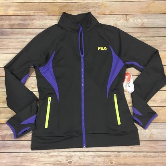 Fila Jackets & Blazers - Fila Dark Grey and Purple Track Jacket, Size M